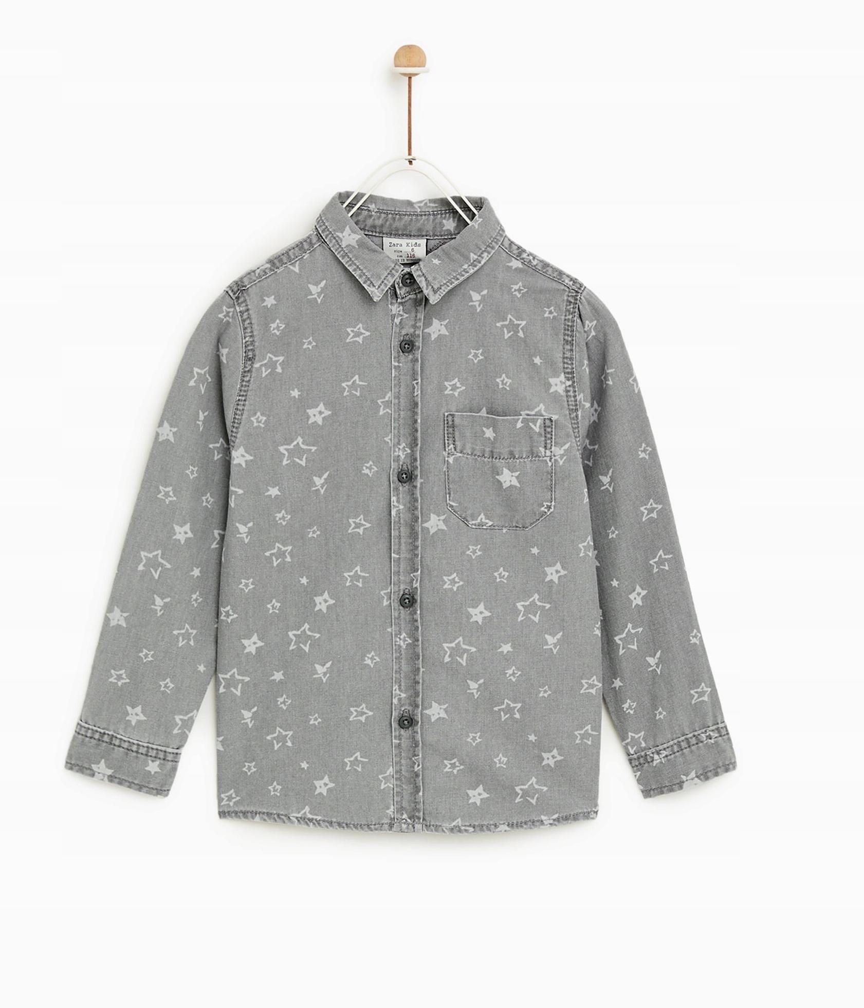 NOVÉ tričko ZARA. dim. 104/110 cm sivá hviezdy
