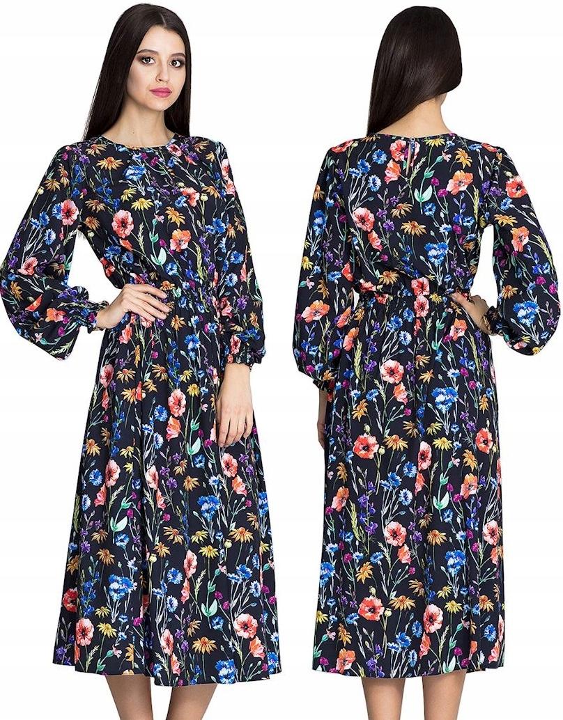 Długa Zwiewna Sukienka W Kwiaty Kobiecy Fason S/m