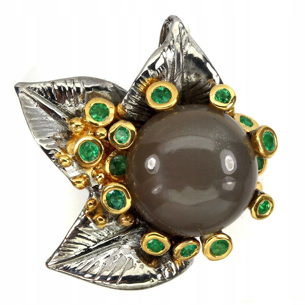 Krásny prsteň moonstone smaragdy