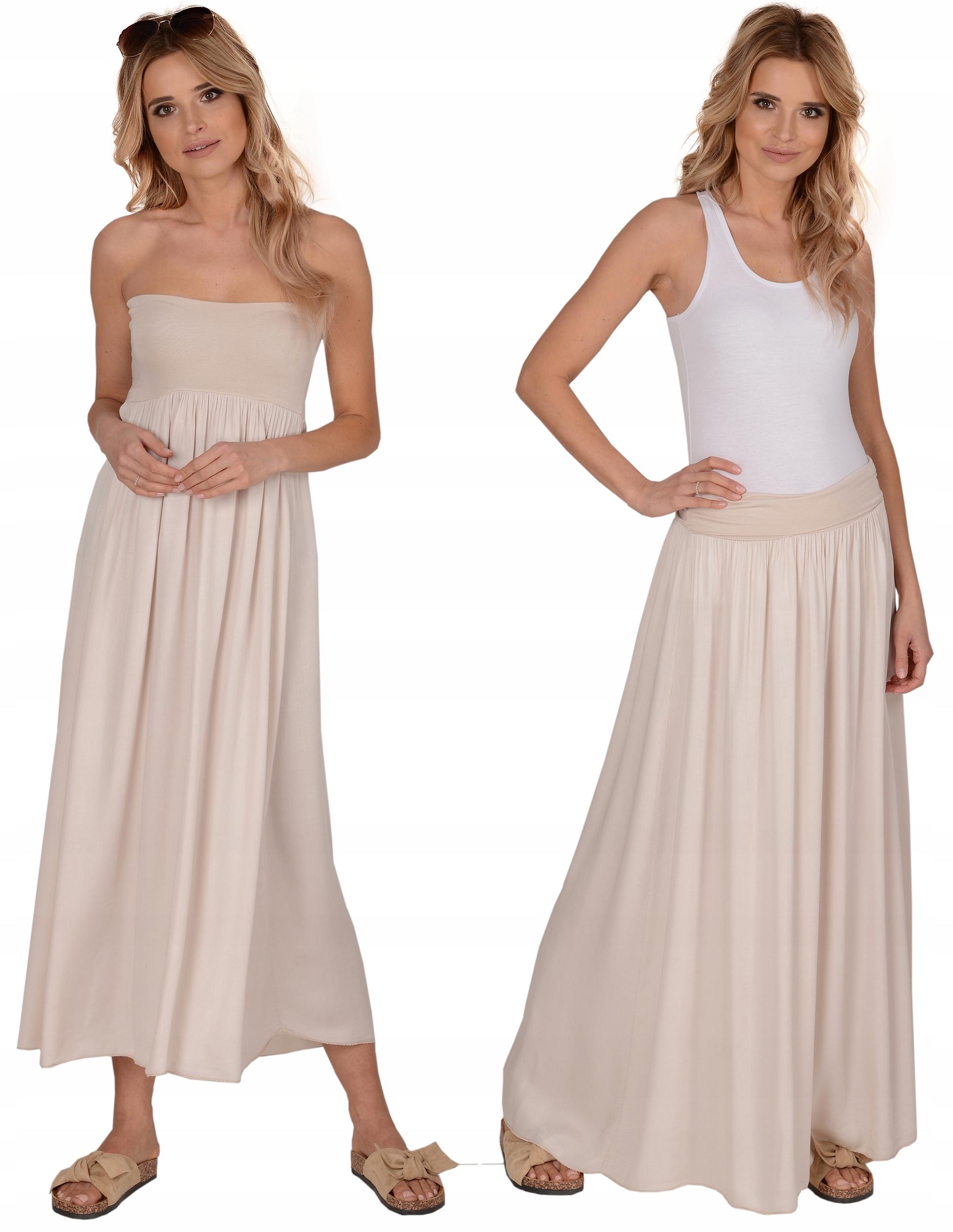 Modna Letnia długa spódnica 2w1 sukienka --- Beż
