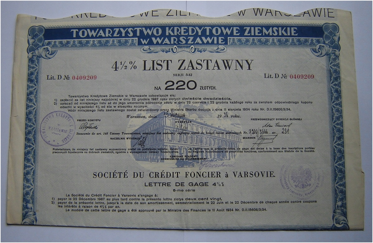 4 1/2% PLDAL LIST 5 SÉRIÍ PRE 220 ZLOTYS 1936