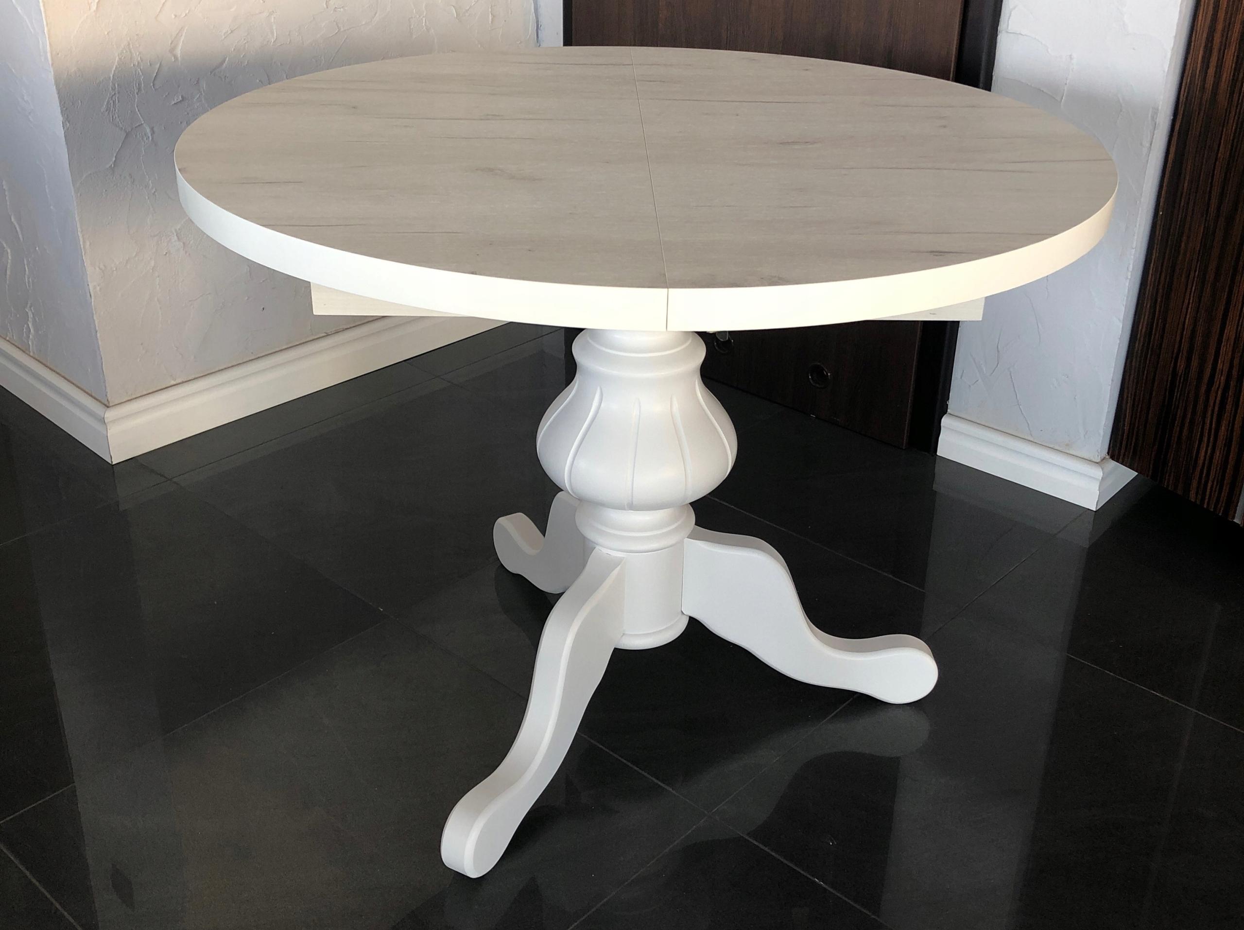 Okrúhly stôl remeslo biela na jednej nohe, VINTAGE