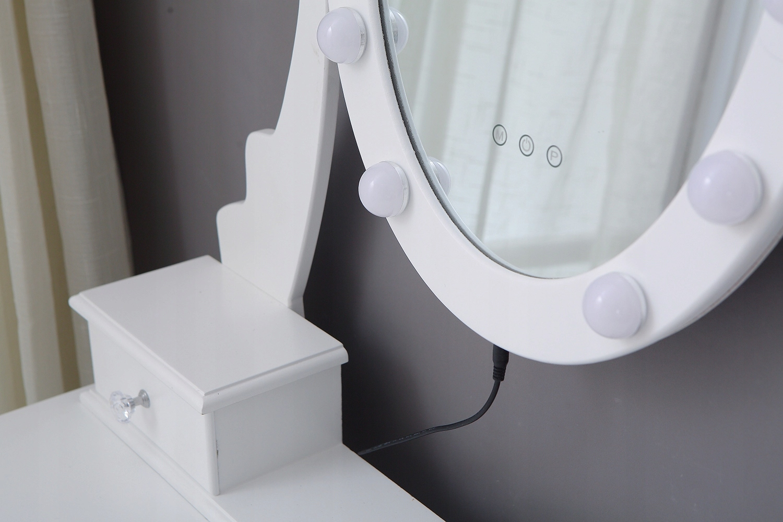 KOZMETICKÉ WC WC S LED ZRKADLOM BIELE + STOLICA Výška nábytku 147 cm