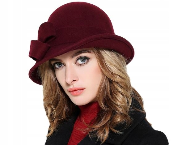 Vlna klobúk žien retro luk Burgundsko