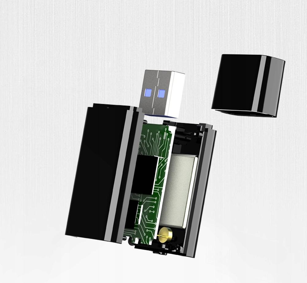 MINI BRELOK DYKTAFON PODSŁUCH do 64GB 24H 192KBPS Zasilanie akumulatorowe
