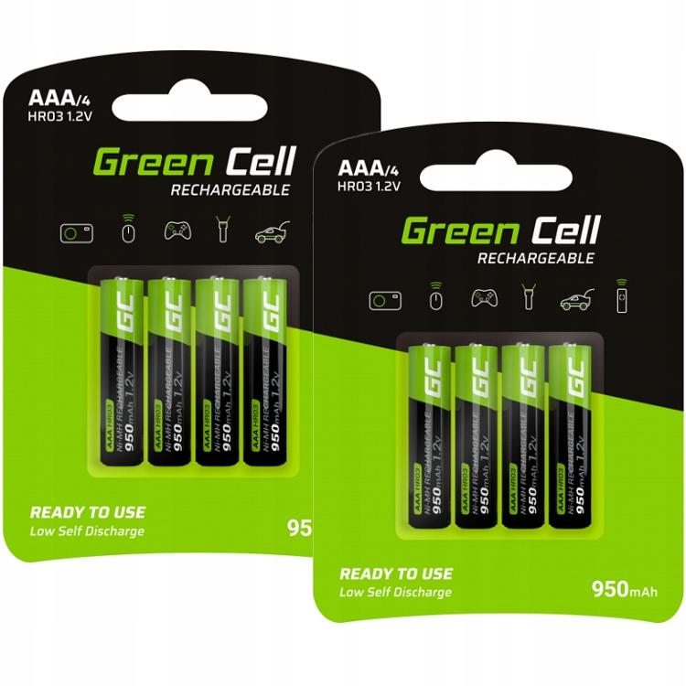 8x Akumulatory Paluszki Green Cell R03/AAA 950mAh