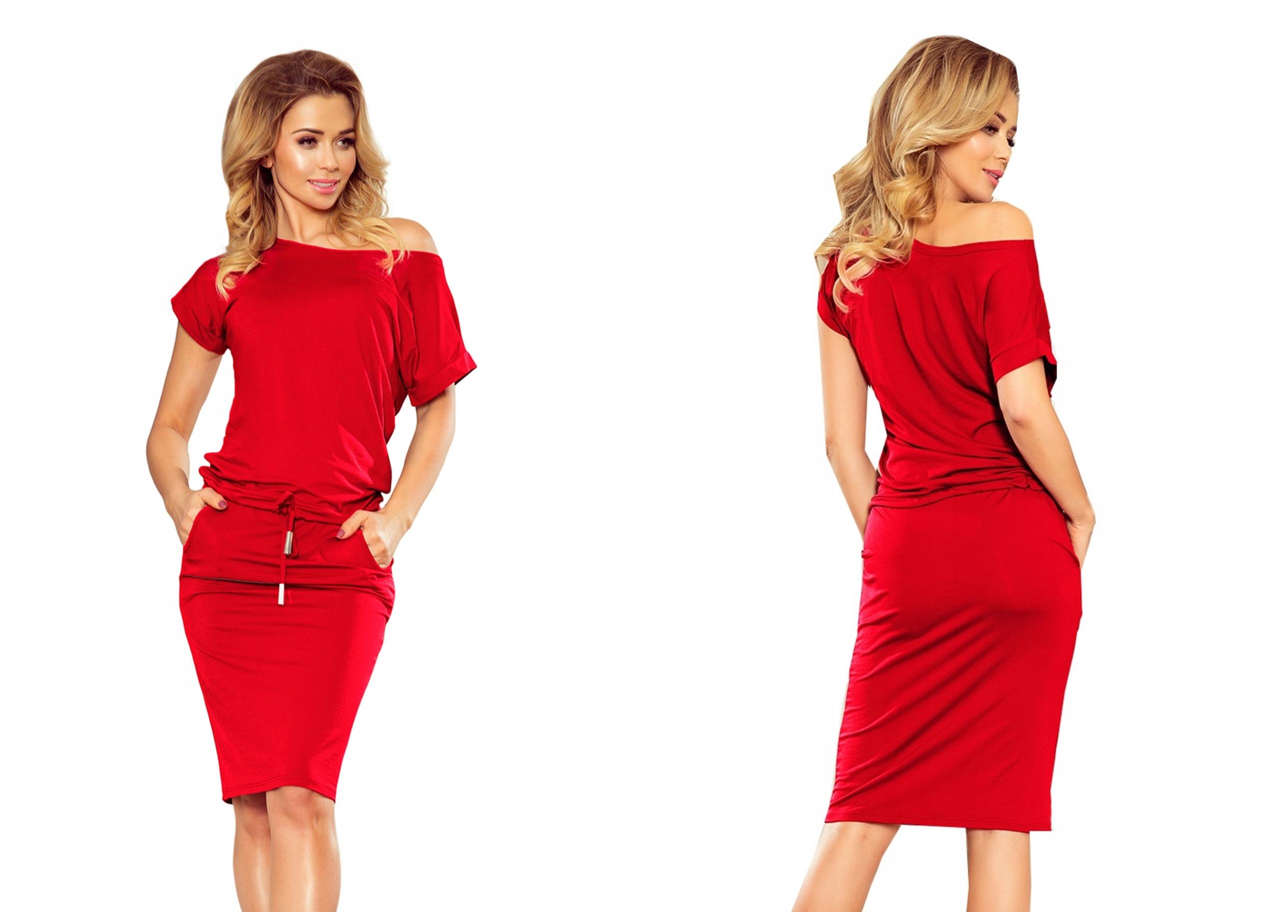 Dresowa Sukienka Krótki Rękaw Na Lato 139-4 S 36