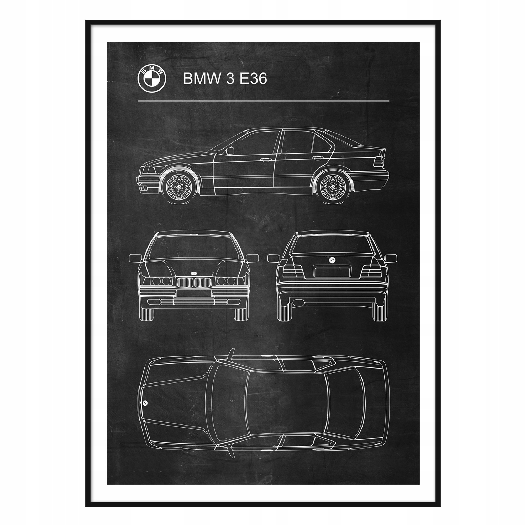 Plagát BMW 3 E36 Retro Patent Plagát Schémy
