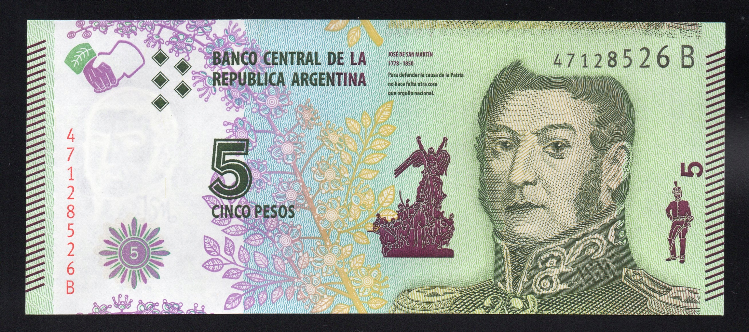 Argentyna 5 PESOS P-359 UNC seria B