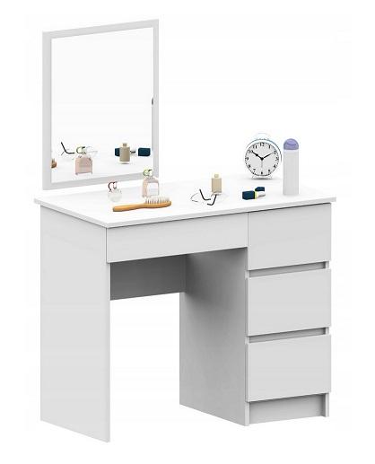 Toaletka,MADEMOISELLE, piccolo, biała,prawa,lustro