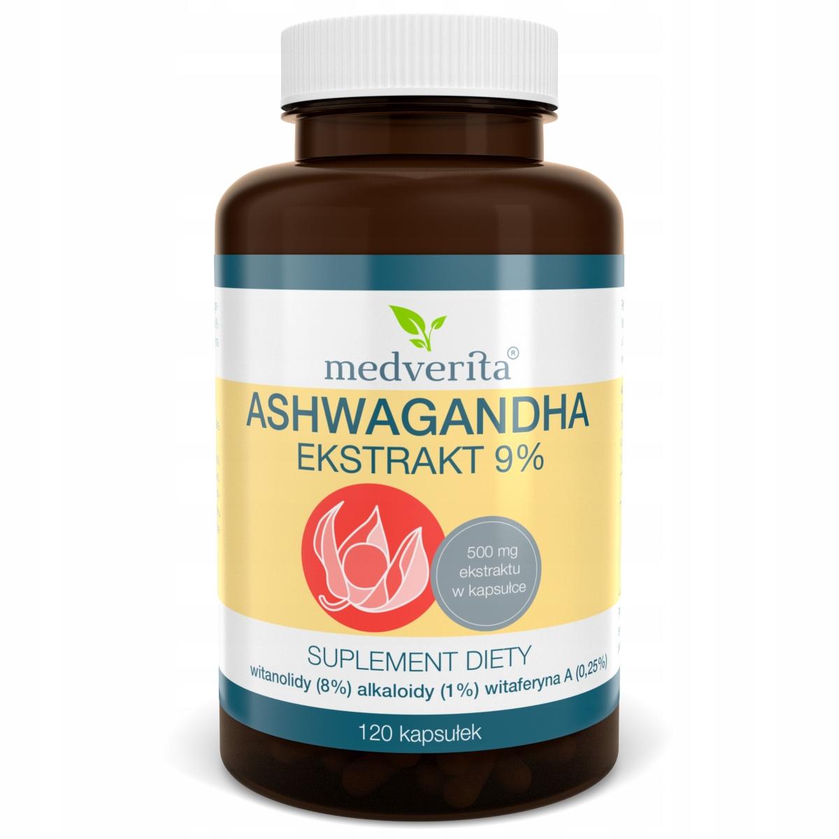 ASHWAGANDHA Ekstrakt 9% witanolidy żeń-szeń 120 k
