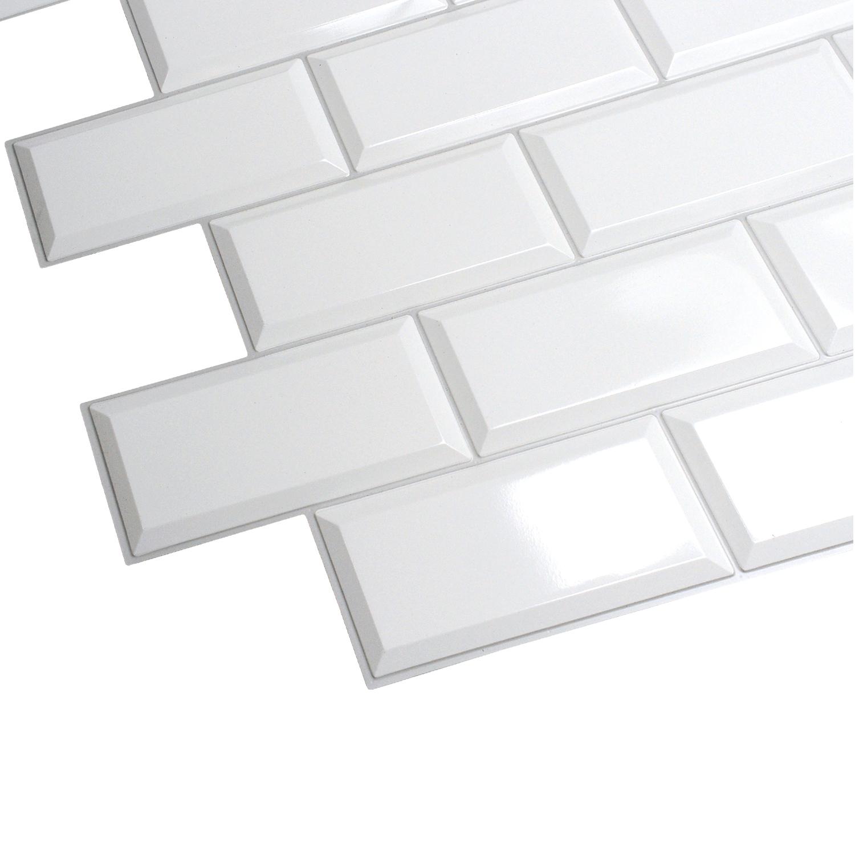 Ścienne Panele KAFELKI Białe 3D PCV GREY SEAM