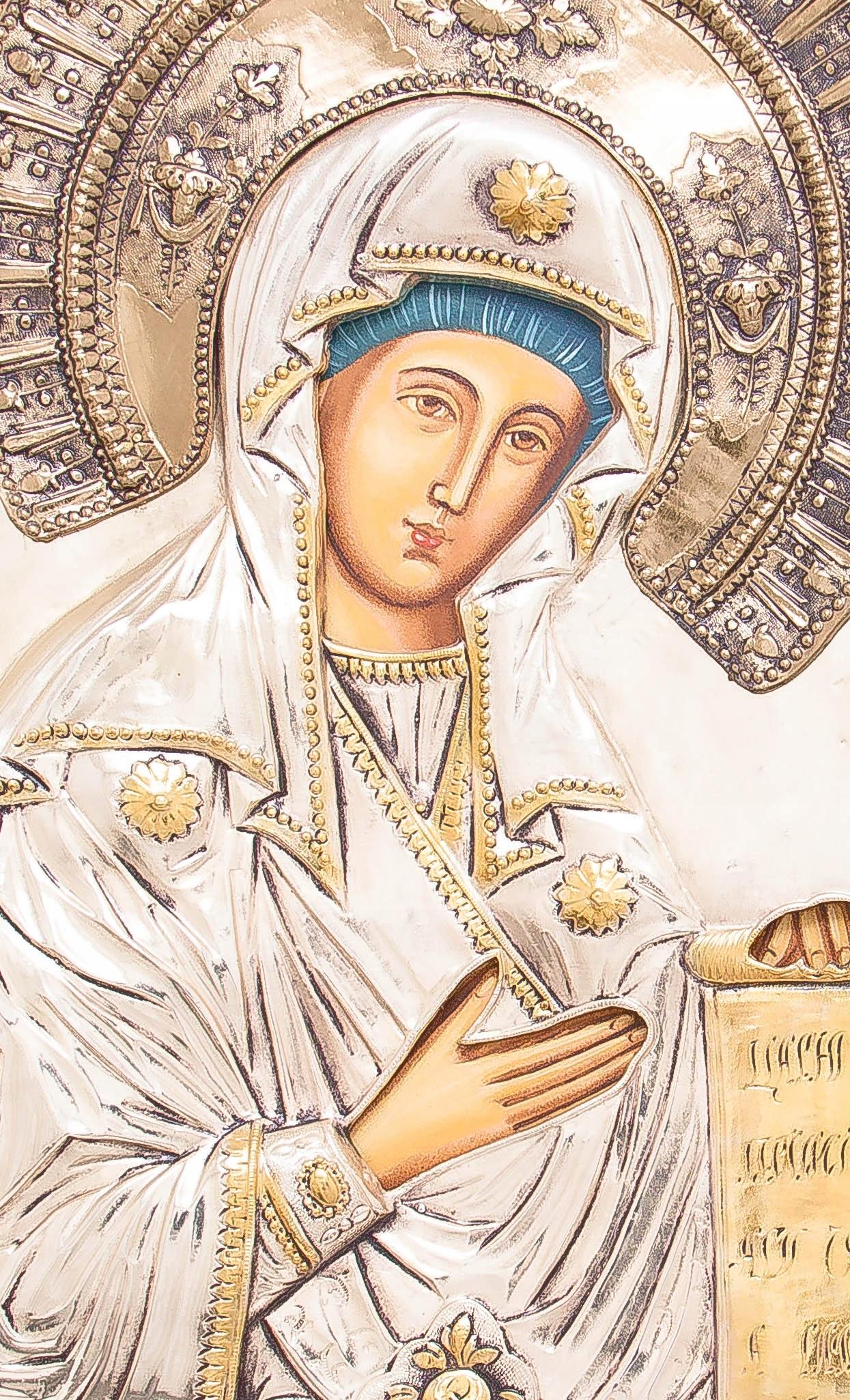 Ikona Matki Bożej Bogolubskiej SREBRO ZŁOTO nr 39 Rodzaj przedstawienia Matka Boża