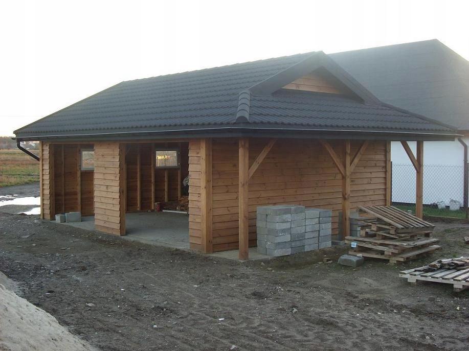 GARAŻ Drewniany budynek gospodarczy warsztat wiata