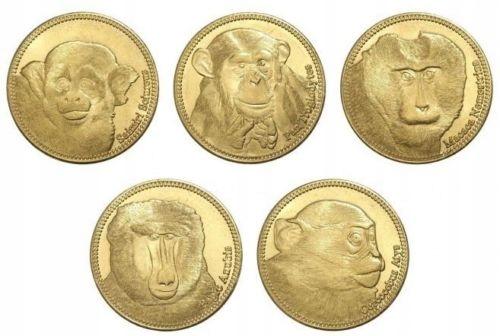 SOMALILAND zestaw 5 monet Małpy