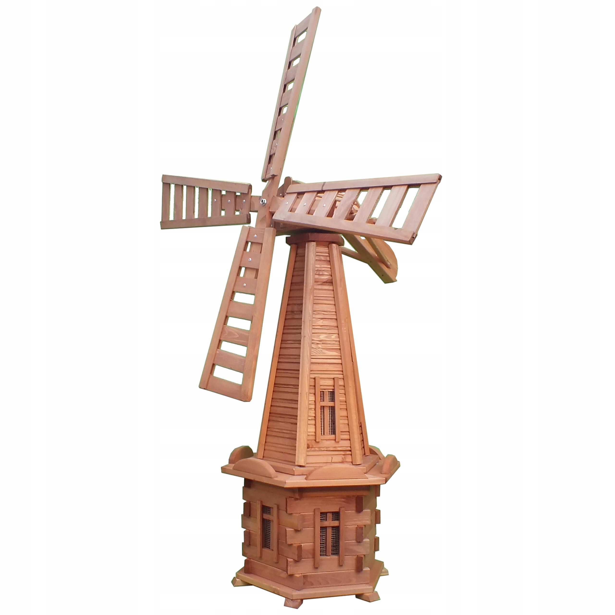 Деревянная садовая мельница 170см 3х ветряные мельницы