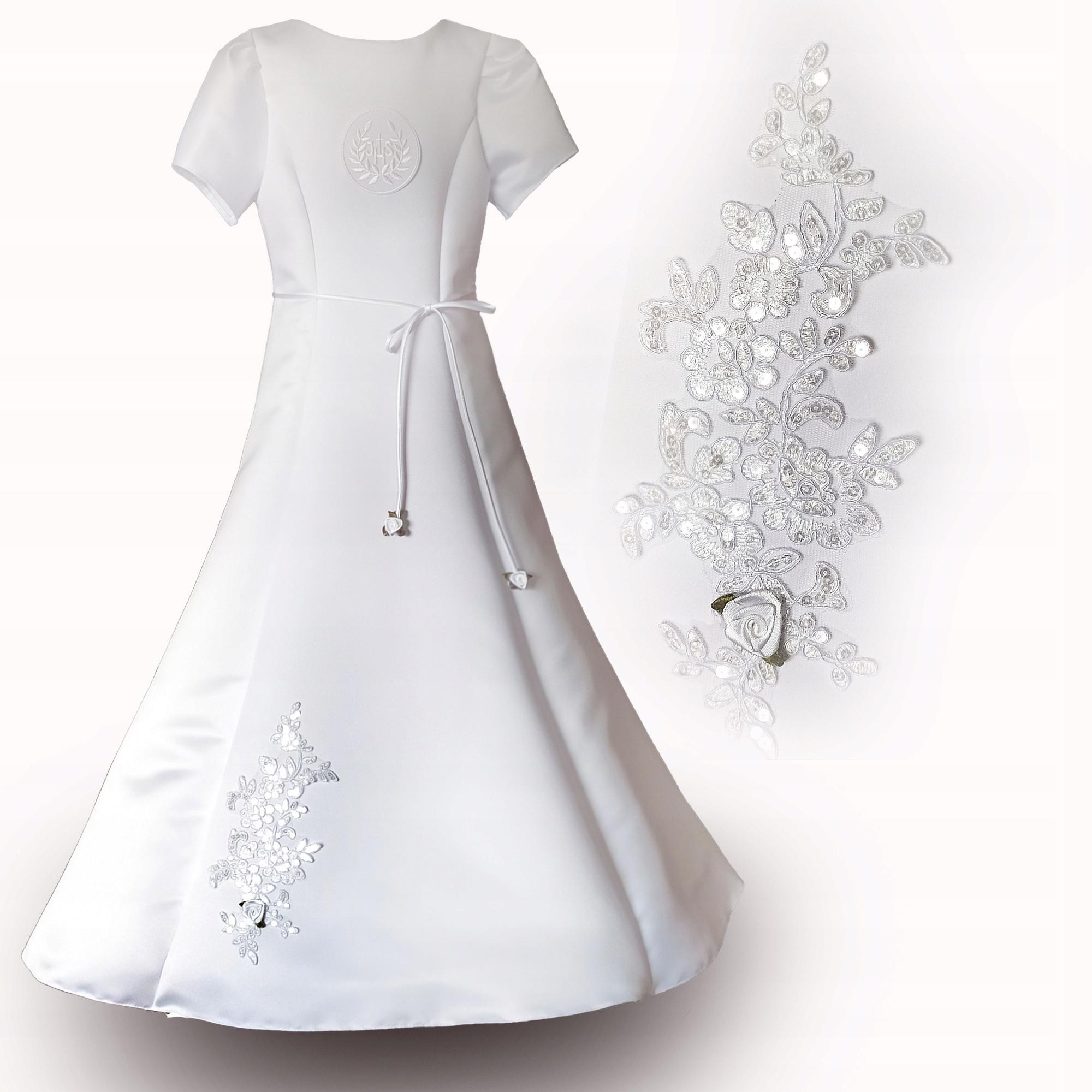 Alba Komunijna Sukienka Komunia Haft Alicja 158 9408978950 Allegro Pl