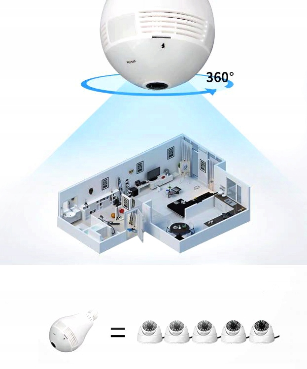 Kamera IP WiFi monitoring 360 w żarówce LED audio Marka DexXer