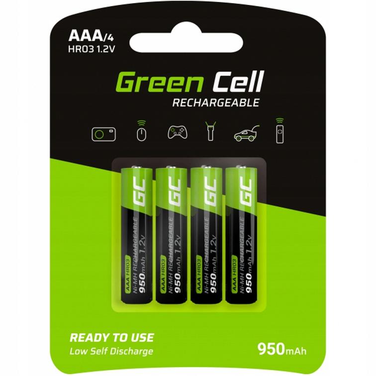 4x Akumulatorki AAA R3 Green Cell 950mAh Baterie