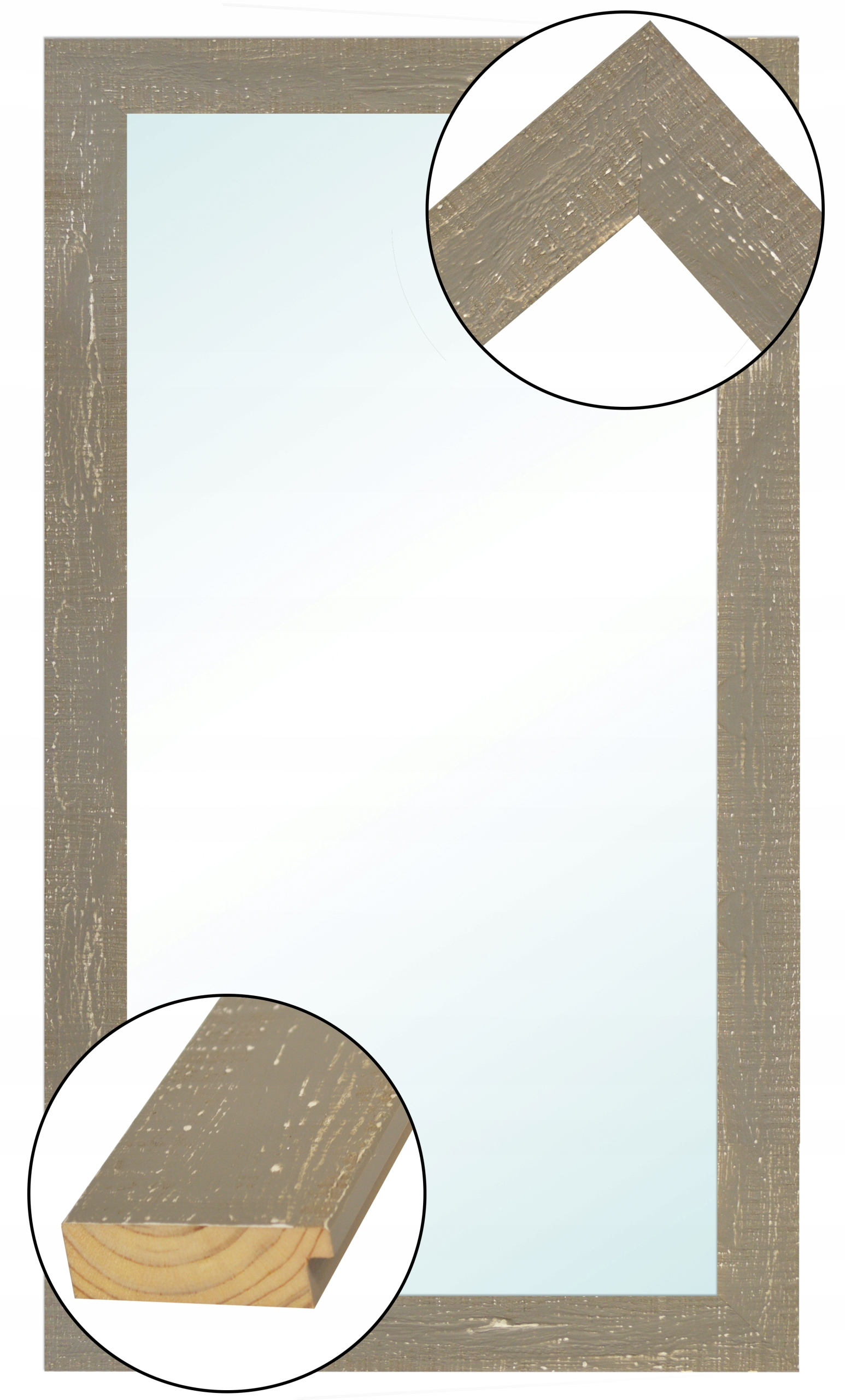 Zrkadlo v ráme WOODEN SHABBY CHIC 130x40 RETRO