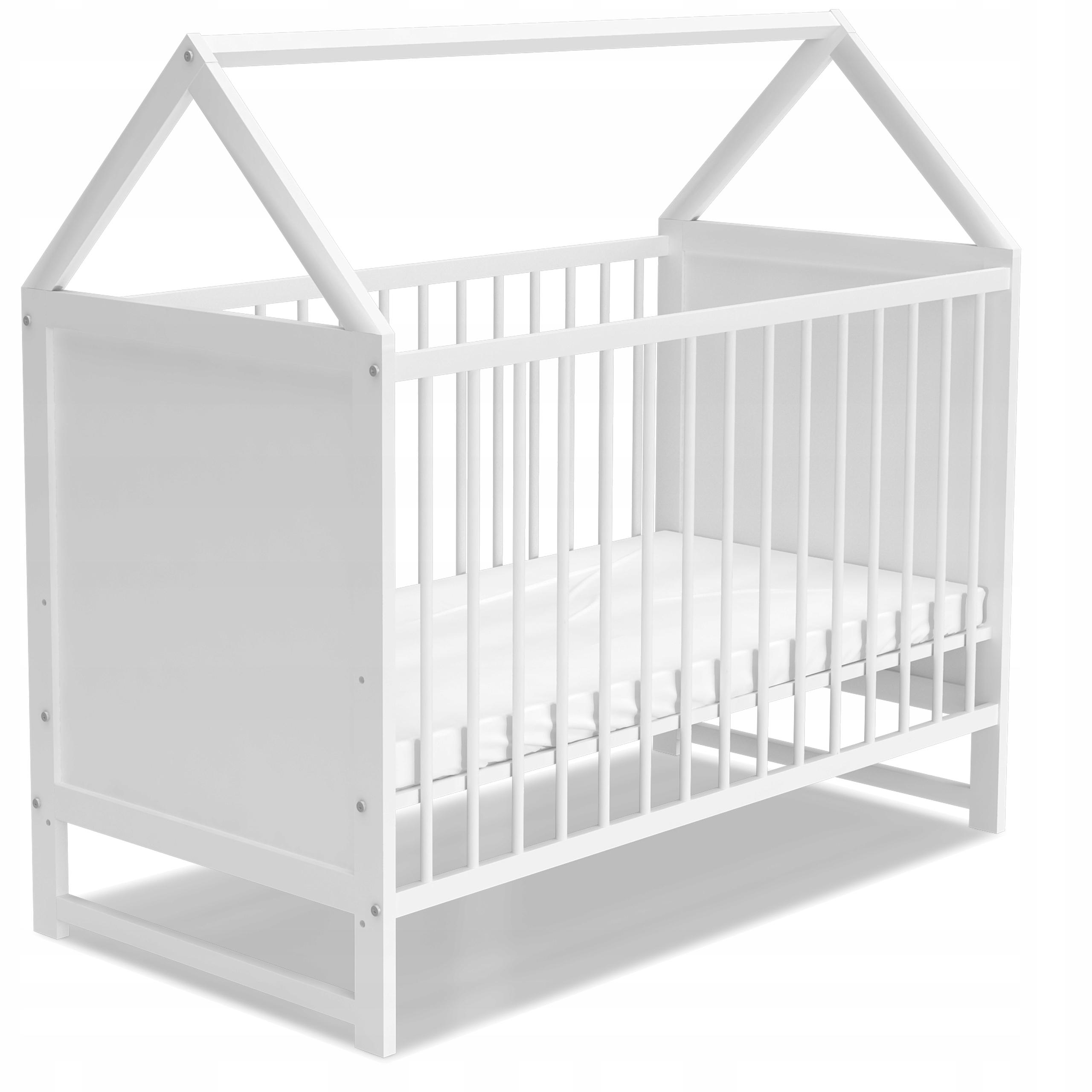 Łóżeczko domek 60x120 cm ANIA białe z materacem