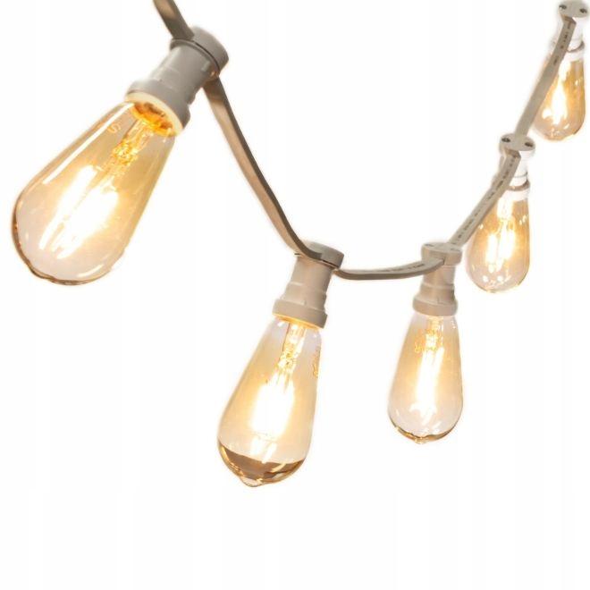 GARLAND svetlo 12 mb + 12 LED BIELA Vintage ST