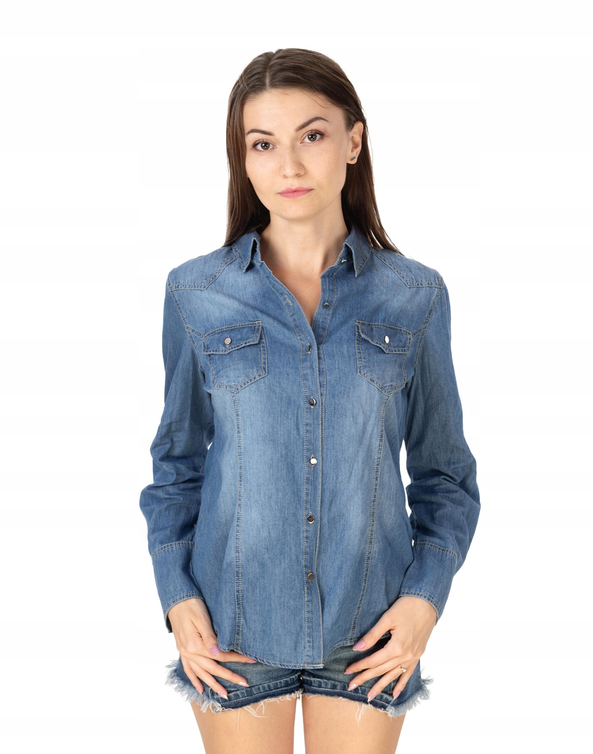 Koszula Damska Jeansowa Bluzka Dżinsowa Y003 r XL