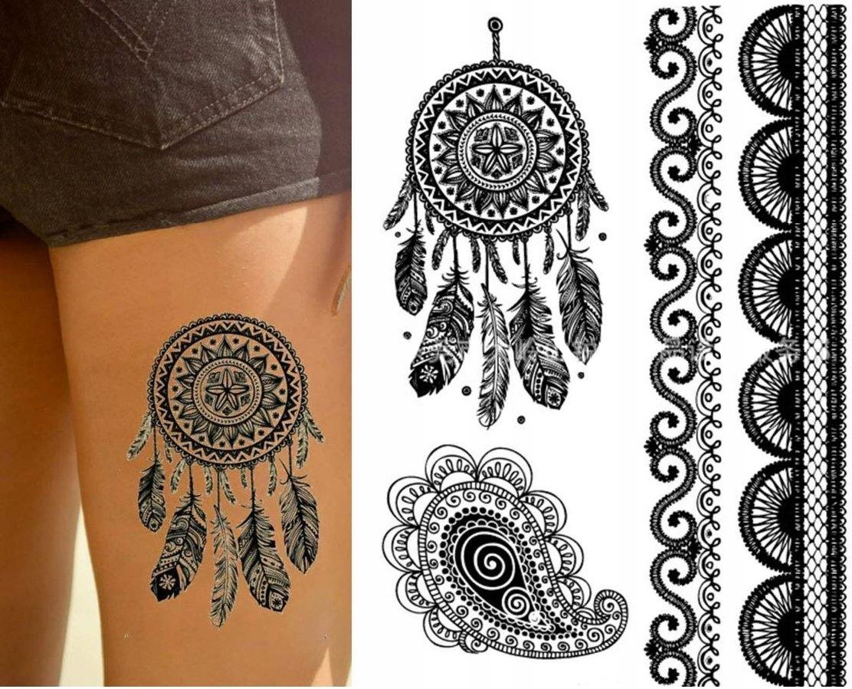 Dreamcatcher Tatuaż łapacz Snów Pióra Henna Th2