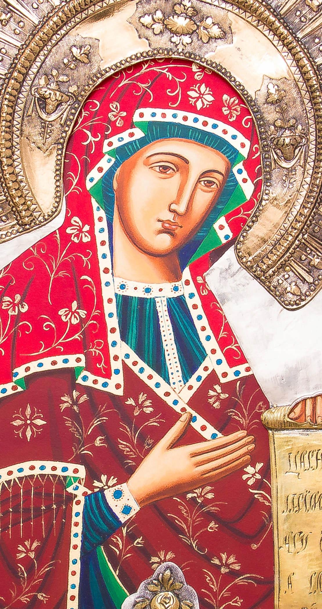Ikona Matki Bożej Bogolubskiej MALOWANA DUŻA nr39P Szerokość 38 cm