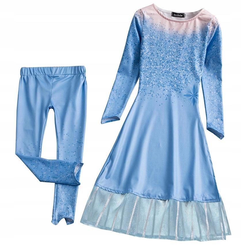 SUKIENKA kostium elzy KRAINA LODU elsa suknia 152