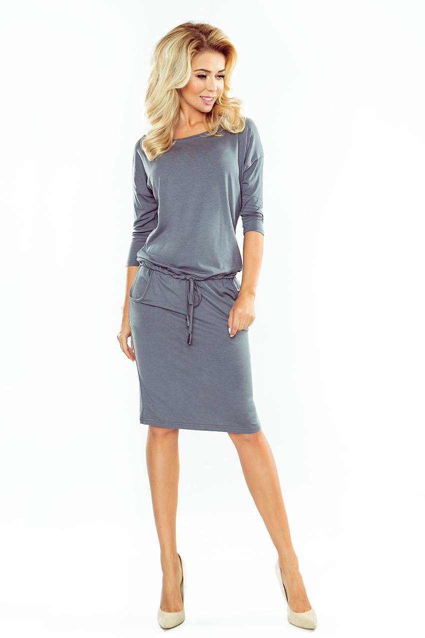 Sukienka dresowa wiązana z kieszeniami Szara Xs 34