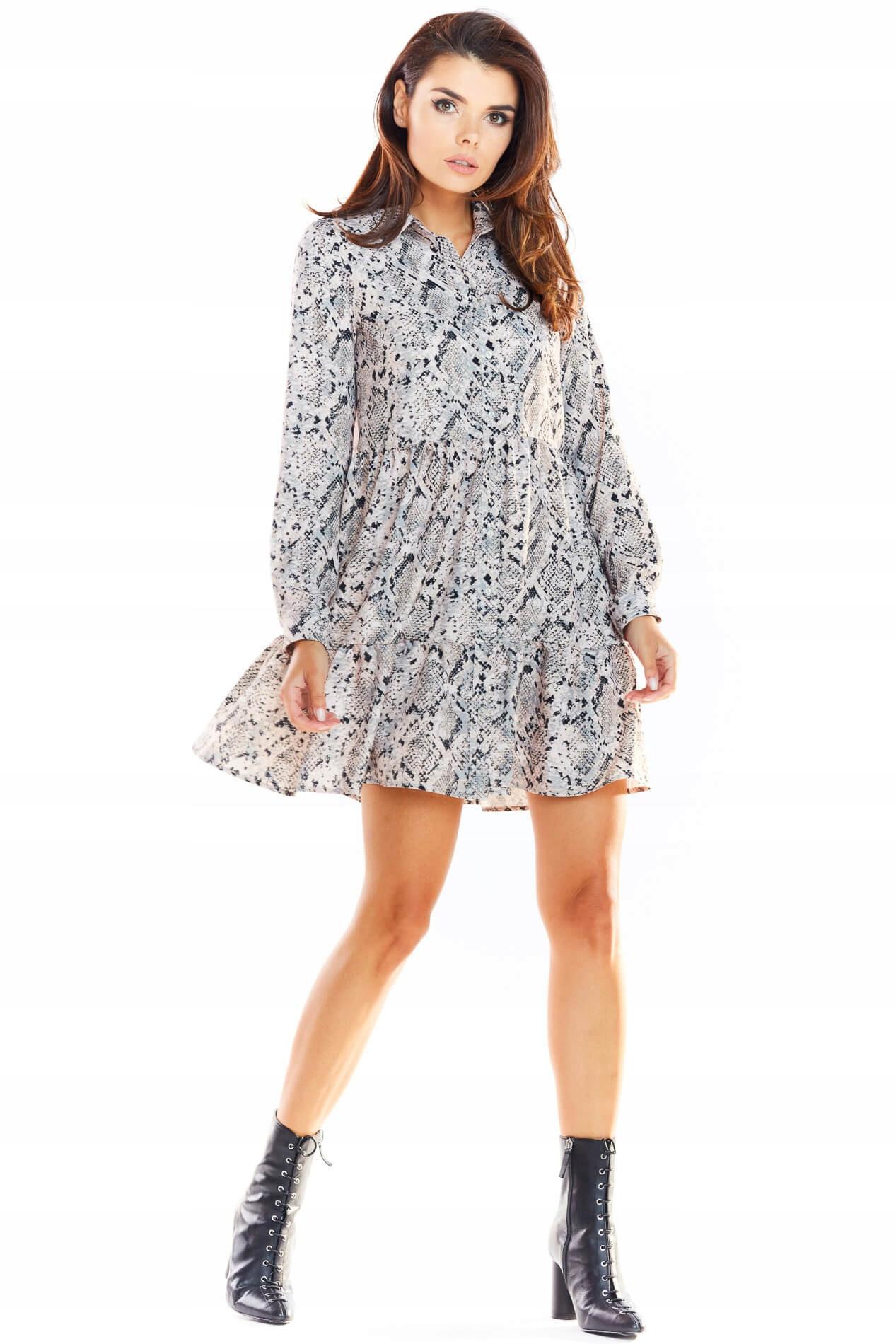 Kobieca Mini Koszulowa Sukienka Zwiewna roz S/m