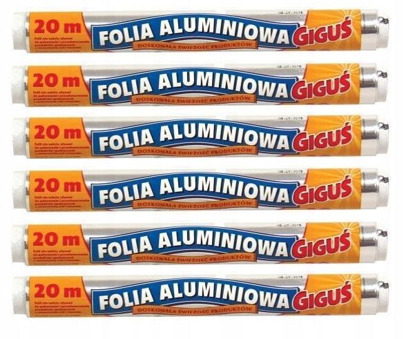 Folia aluminiowa spożywcza wydajna GIGUŚ 20m x6