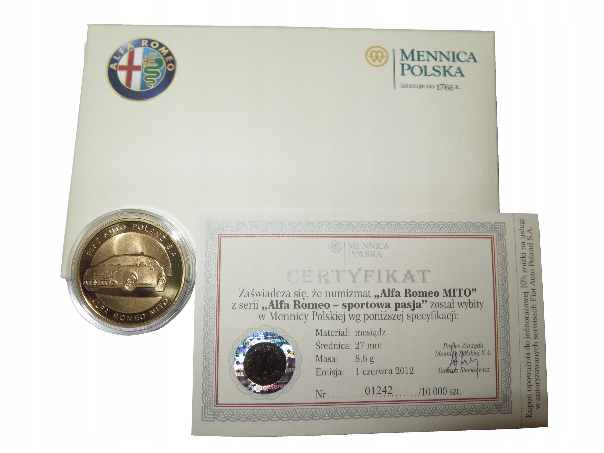 Numizmat moneta kolekcjonersk ALFA ROMEO MITO