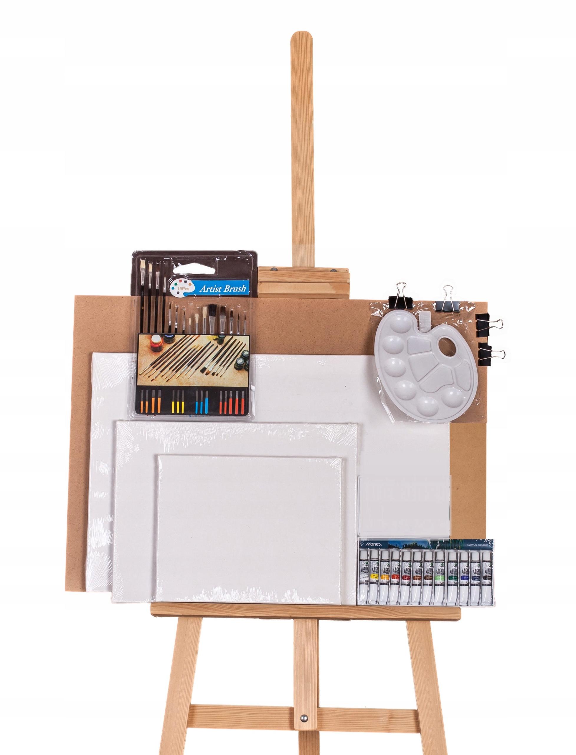 Sztaluga + zestaw malarski, panele, farby, pedzle. 7814652233 - Allegro.pl