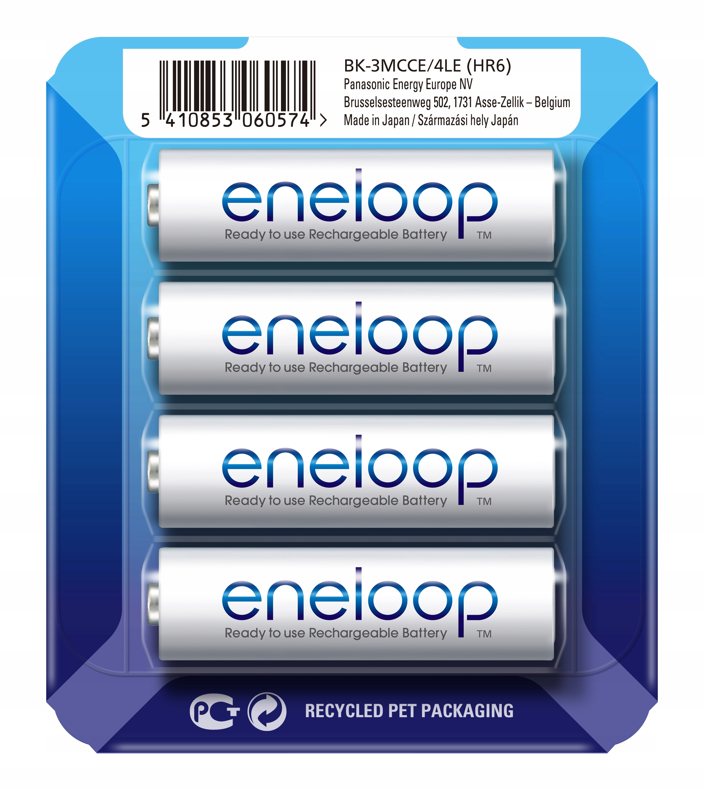 Item 4 x PANASONIC ENELOOP rechargeable BATTERIES AA R6 +BOX MCCE