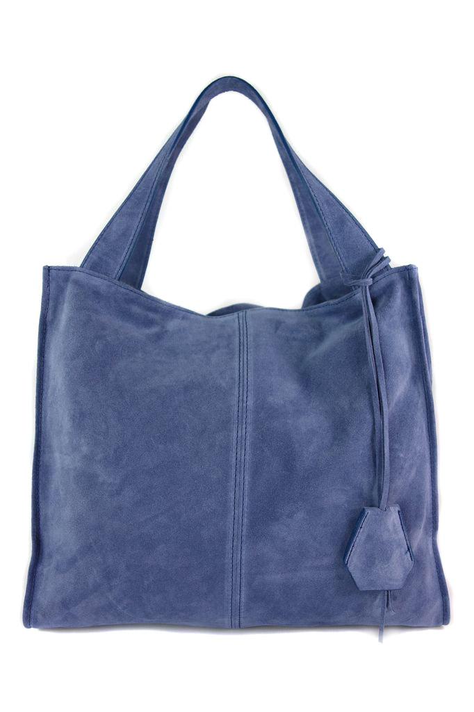 Vera Pelle Włoski Duży Worek Zamsz XXL Blue Jeans