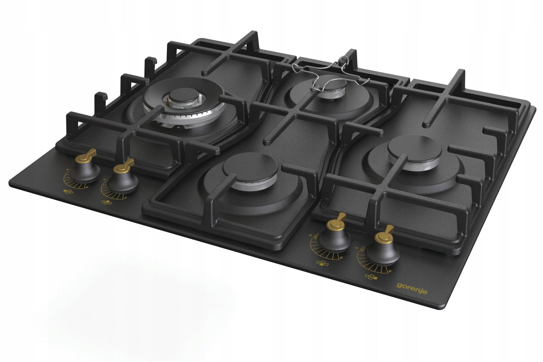 Retro plynová varná doska GORENJE GW6D41CLB v matnej čiernej farbe