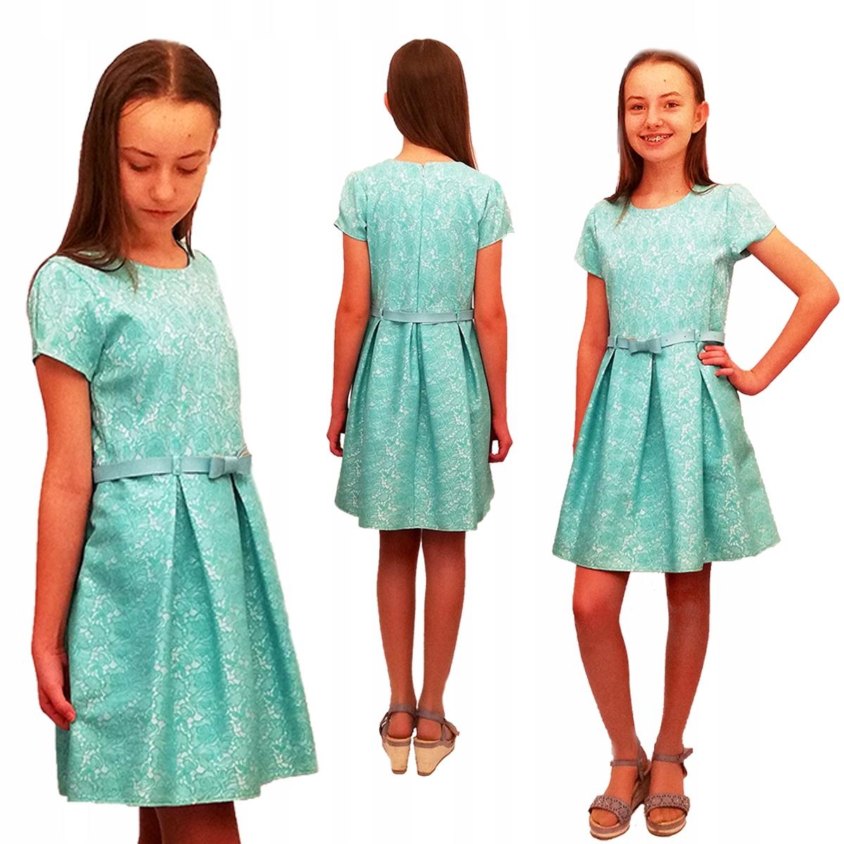 Šaty IWET zelené, ružové.152, PRODUKT POĽSKÝ TOP