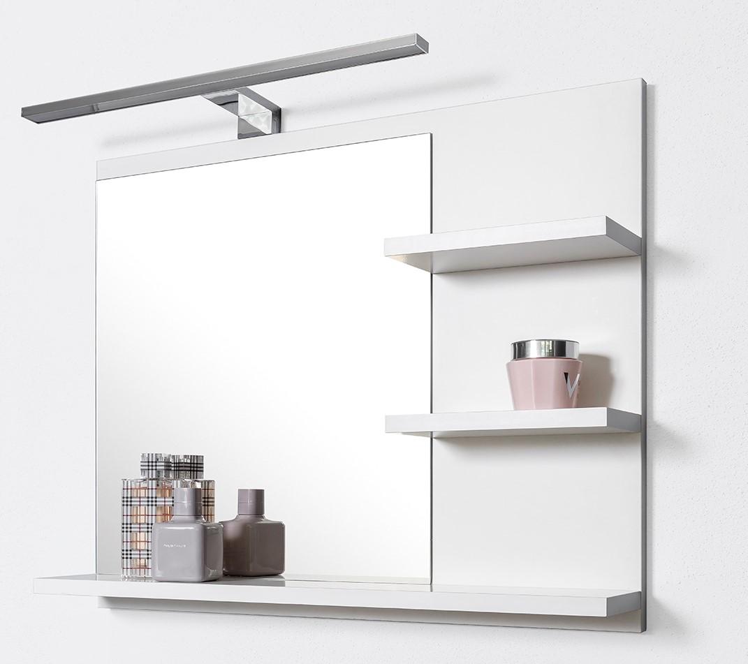 Białe lustro do łazienki z 3 półkami, lampa LED