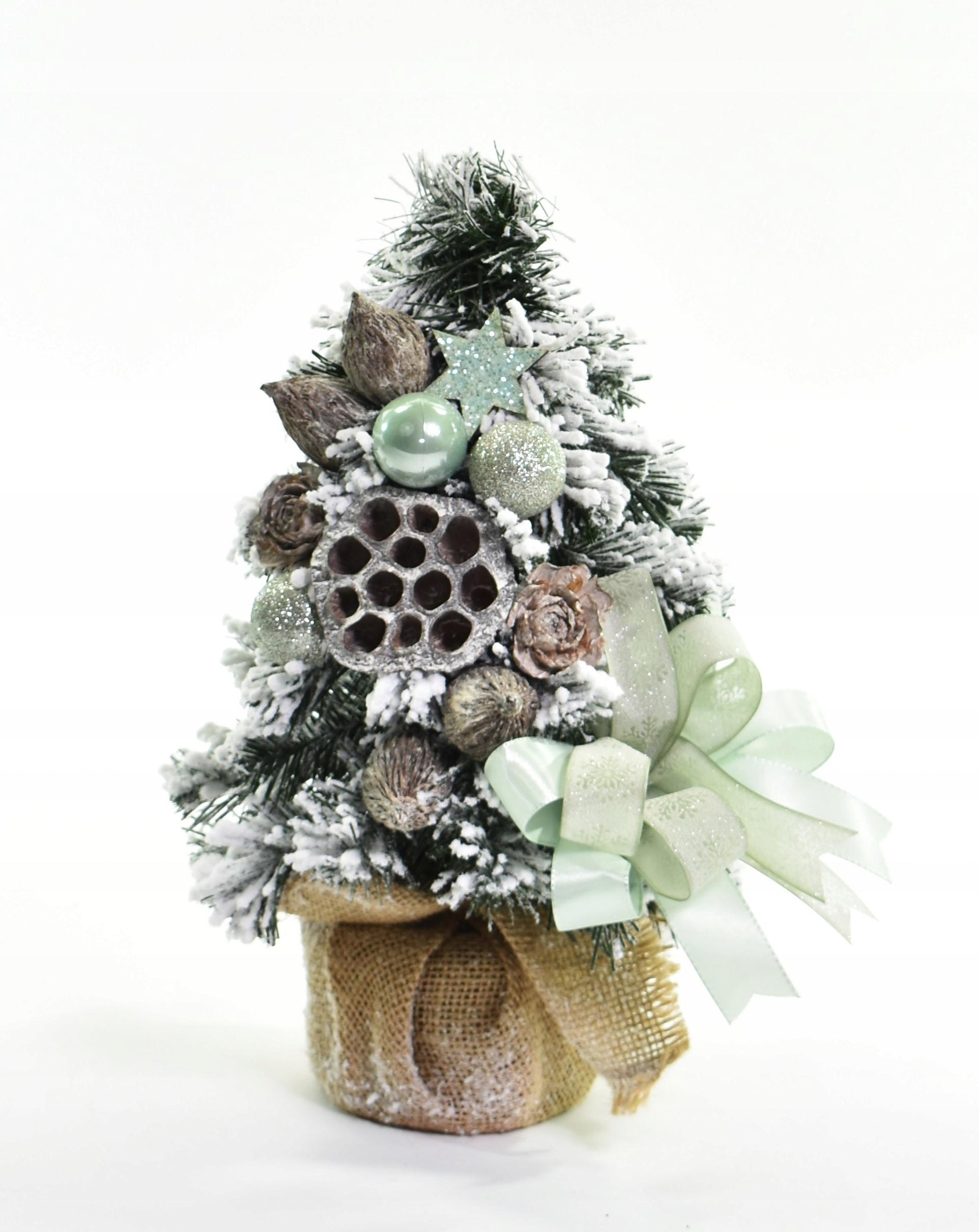 Zdobený kužeľovitý vianočný stromček, mäta, 30 cm