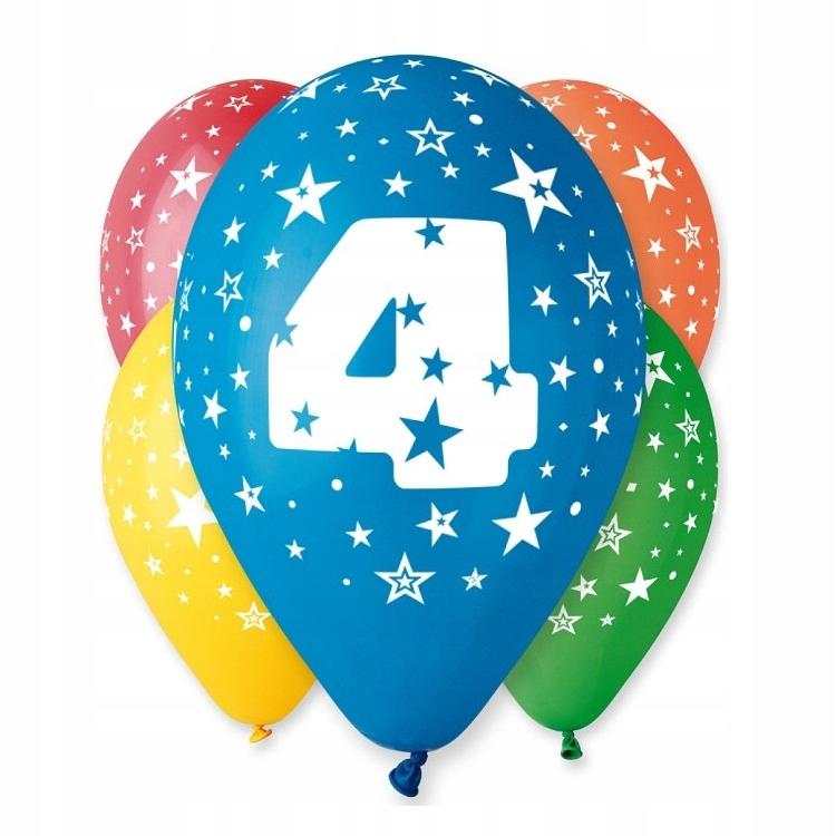 Воздушные шары на день рождения с печатным номером № 4-5 шт.