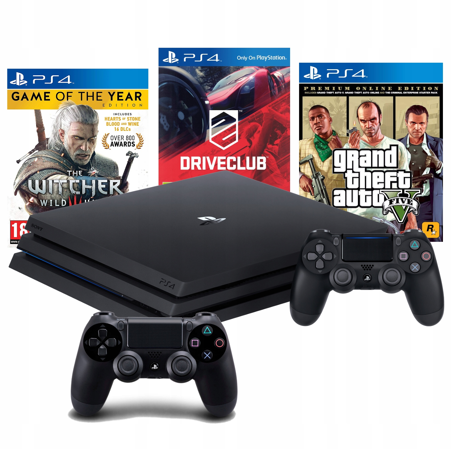 Купить PS4 PRO 1TB PS4+2X PAD+ GTA V+DRIVECLUB+THE WITCHER на Otpravka - цены и фото - доставка из Польши и стран Европы в Украину.