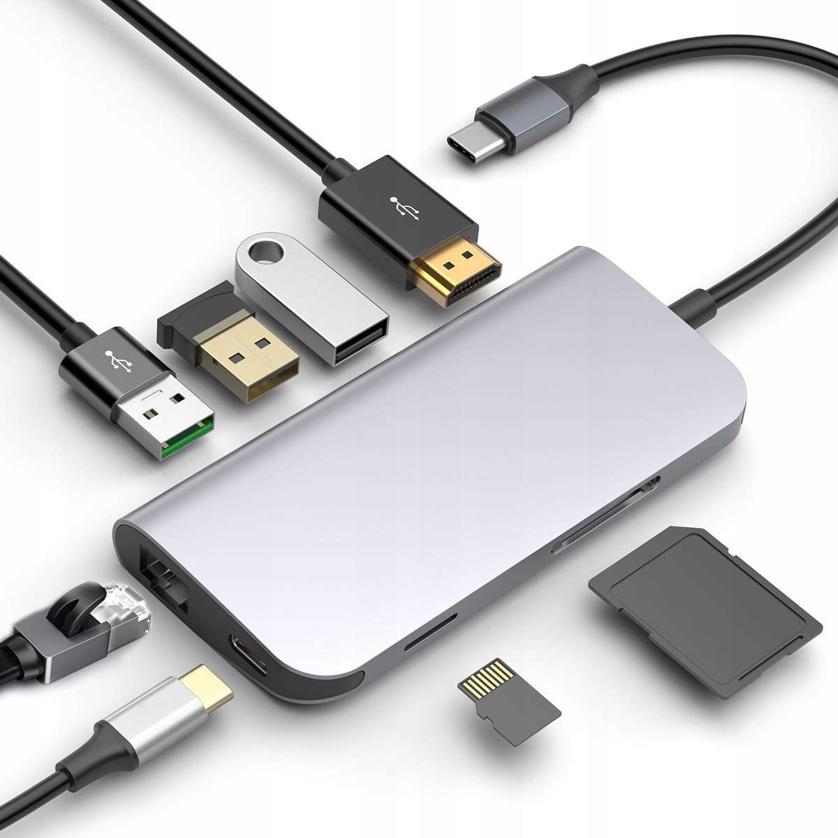 Купить ФИРМЕННЫЙ КОНЦЕНТРАТОР RONEBERG USB-C, HDMI 4K RJ45 SD USB 3 на Otpravka - цены и фото - доставка из Польши и стран Европы в Украину.