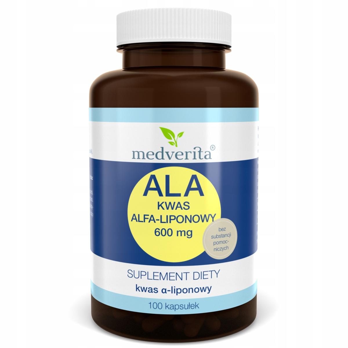 ALA 600 mg Kwas alfa-liponowy - 100 kapsułek