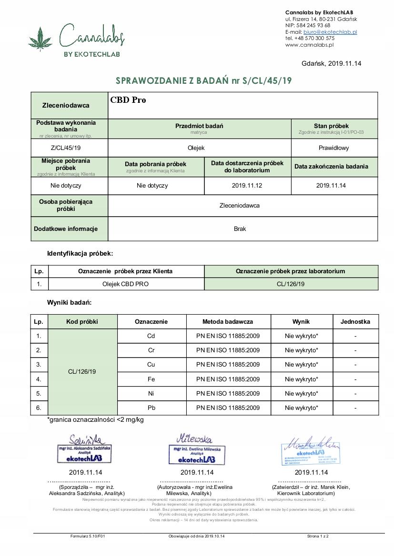 OLEJEK KONOPNY CBD PRO 15% 1500mg CERTYFIKOWANY Producent CBD Pro