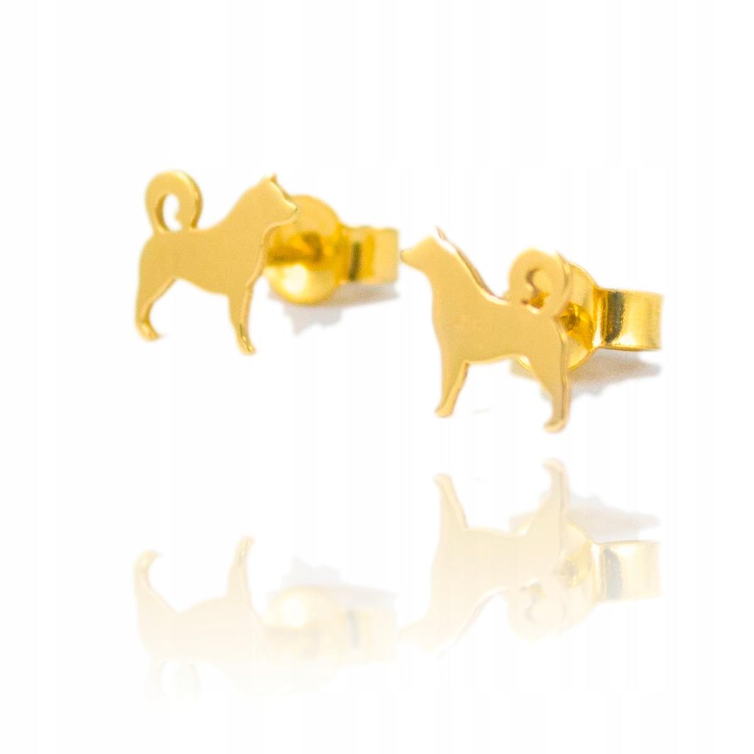 Złote Kolczyki Celebrytki Pies Piesek 585 14K