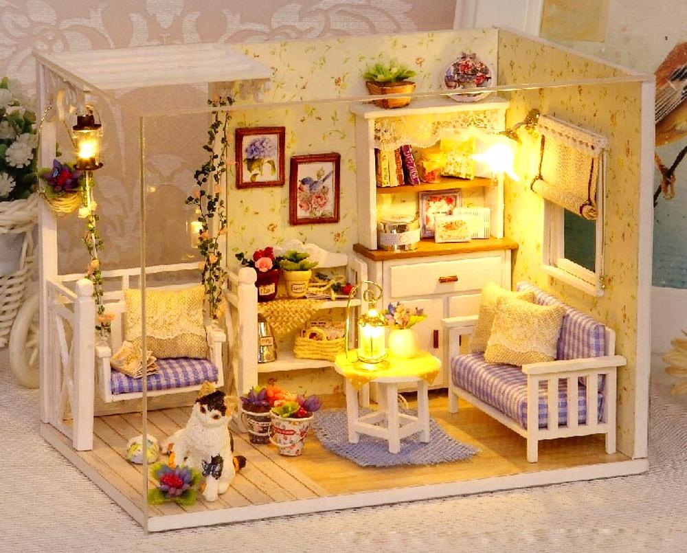 Domeček pre bábiky, drevený retro DIY model 3013