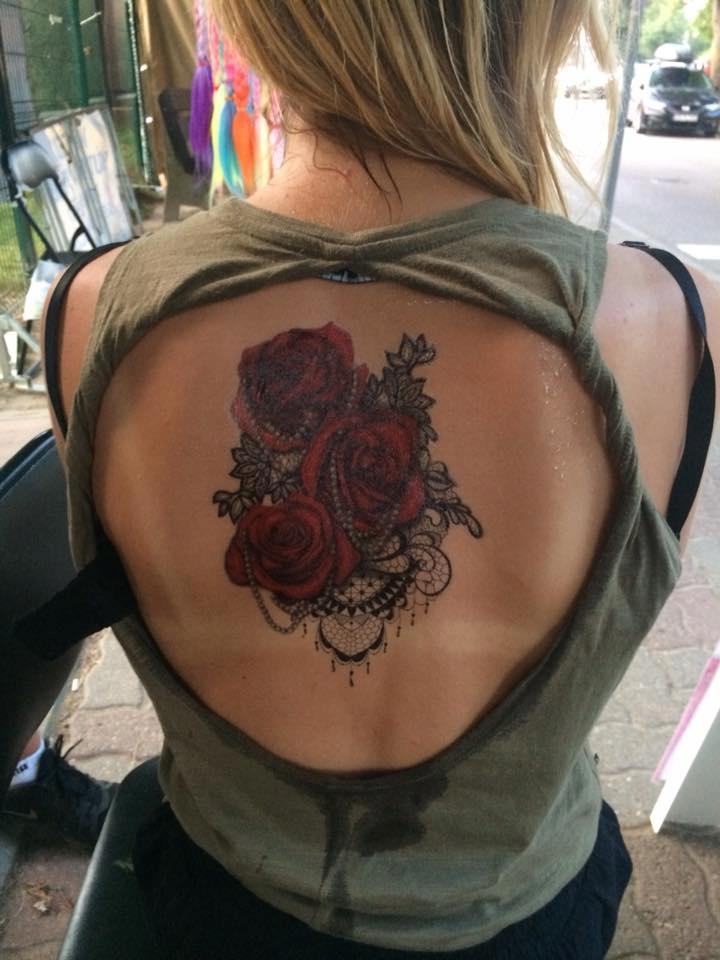 Tatuaż Zmywalny Rękaw Ramię 15x21 Róża Kolce Kwiat