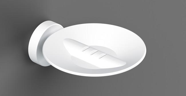 ŁÓDŹ Kovová miska na mydlo SONIA Tecno biela